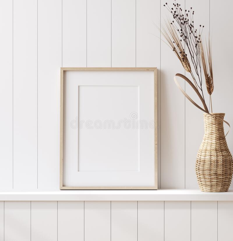 Free Mockup Poster Frame Close Up In Coastal Style Home Interior Stock Image - 189996001