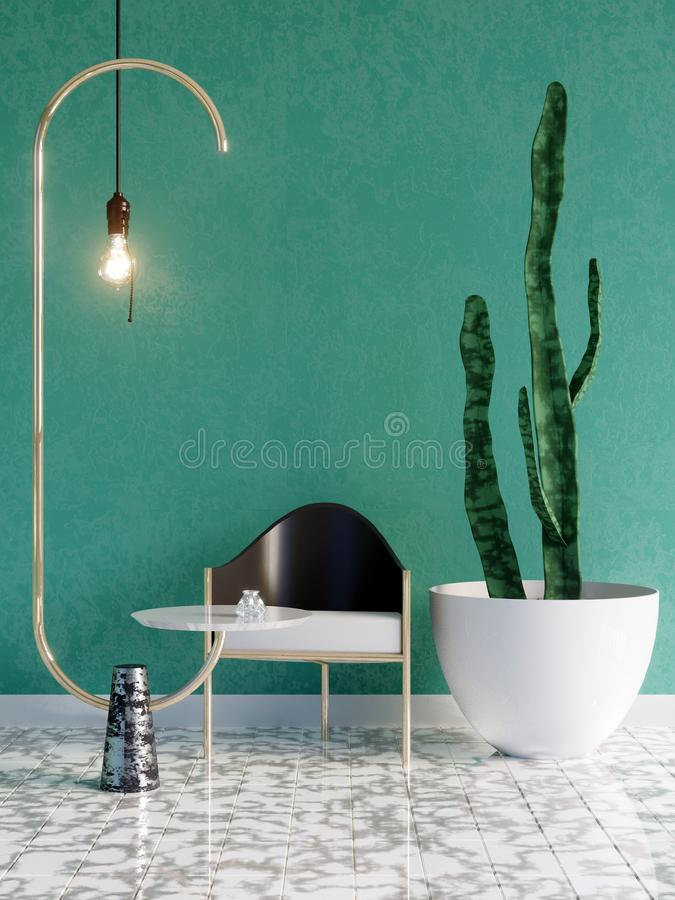 Free Mockup Poster In Art Deco Style Interior. 3d Render. 3d Illustration Royalty Free Stock Photo - 125979925
