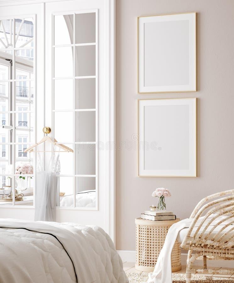 Free Mockup Poster In Luxury Feminine Bedroom Stock Image - 204243821