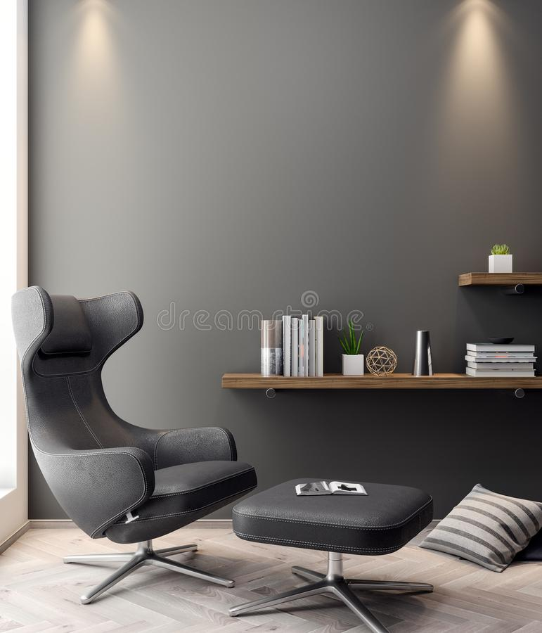 Mockup Poster in the interior, 3D illustration of a modern design royalty free stock photos