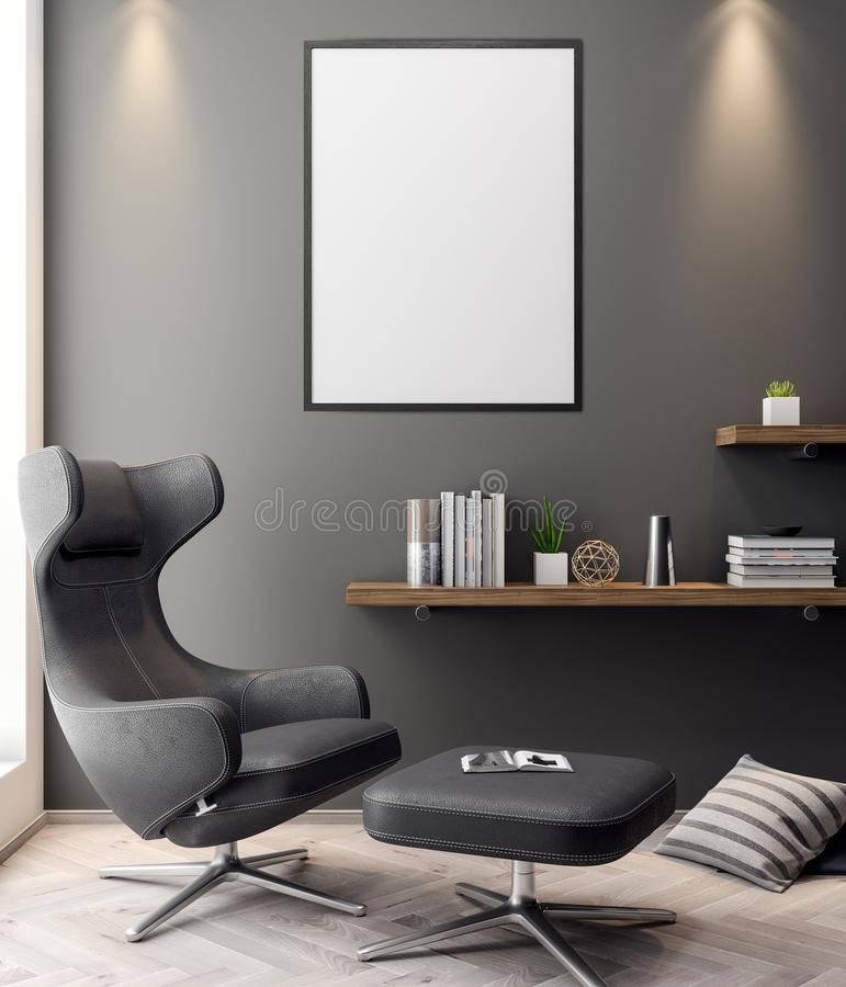 Mockup Poster in the interior, 3D illustration of a modern design stock illustration