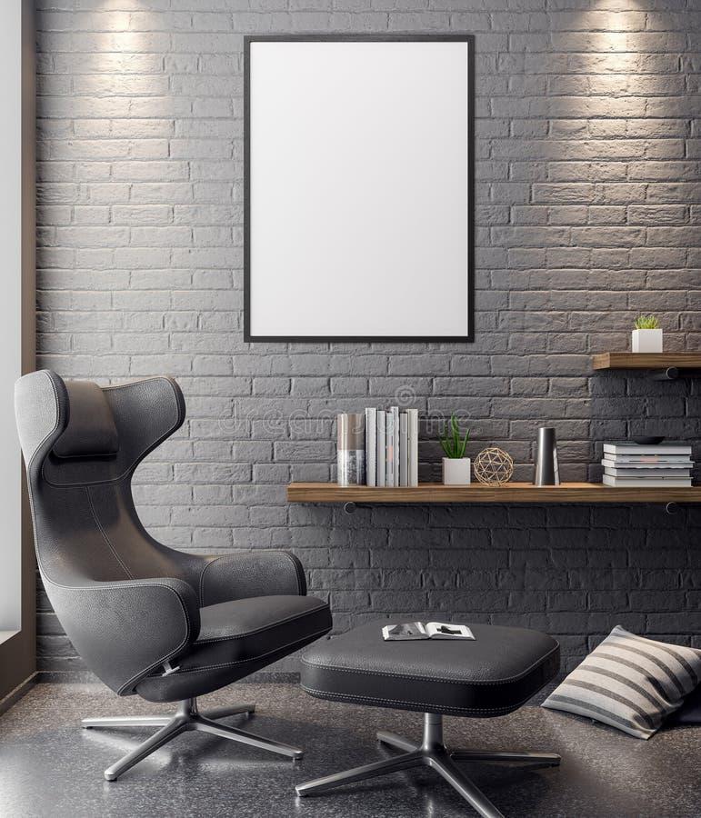 Mockup Poster in the interior, 3D illustration of a modern design vector illustration