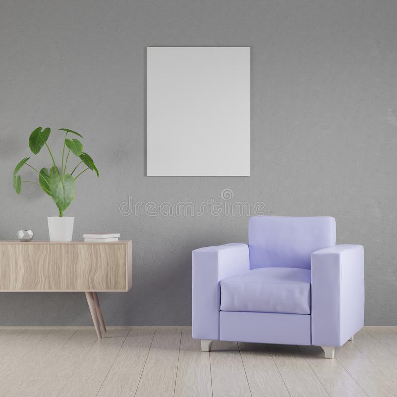 Mockup poster in the interior, 3D render stock illustration