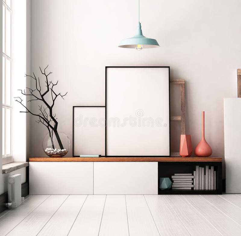 Mockup Poster in the interior. Living in a loft royalty free stock photos