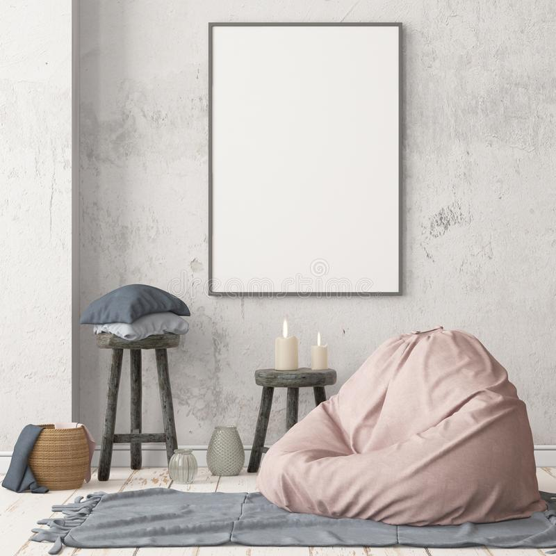 Mockup poster in the interior in Scandinavian style with a seat bag. stock photos