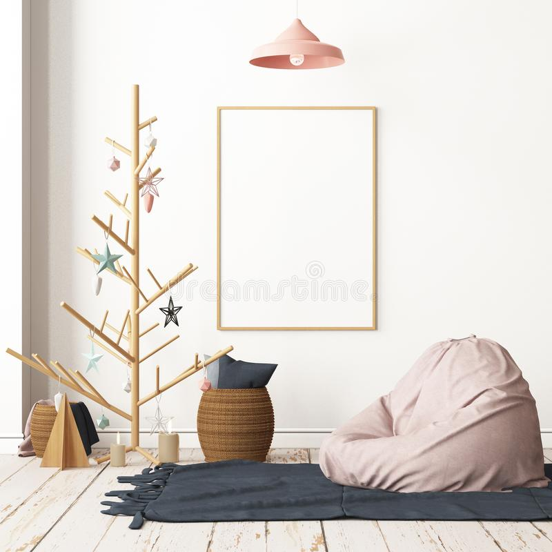 Mockup poster in the interior in Scandinavian style with a seat bag. royalty free stock images