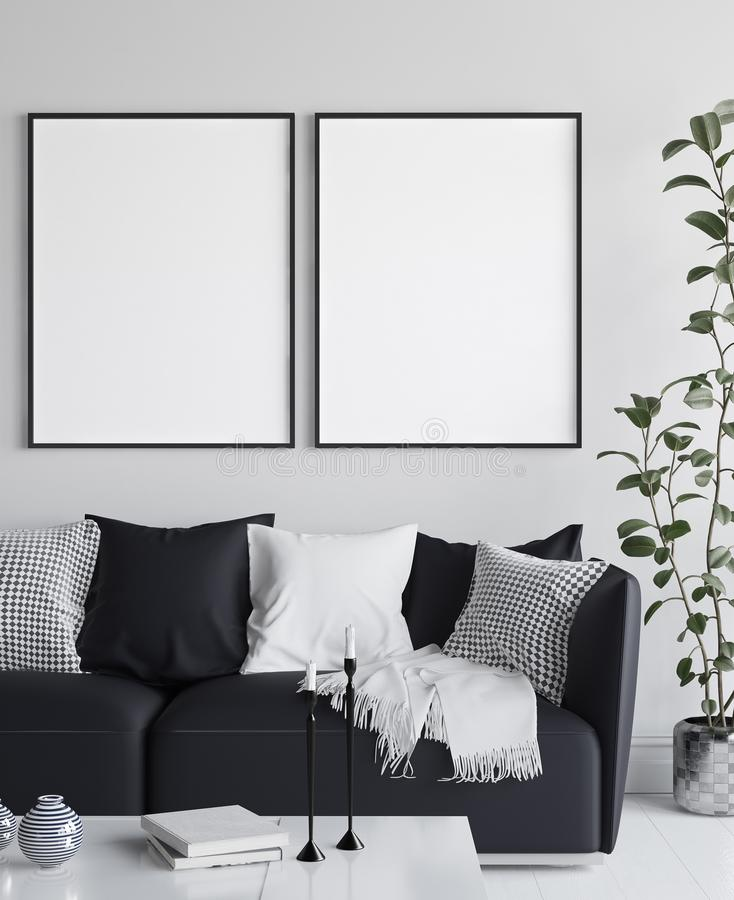 Mockup poster in living room interior, Scandinavian style royalty free illustration