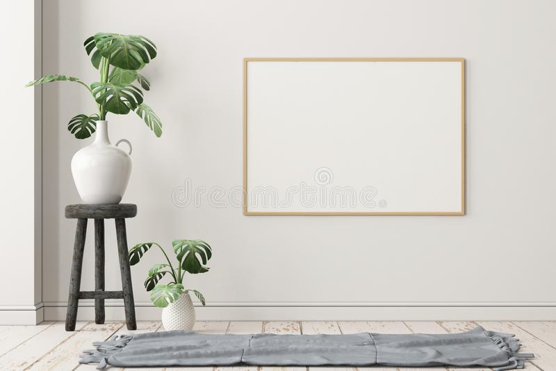 Mockup poster on a stool in Scandinavian style. stock photos