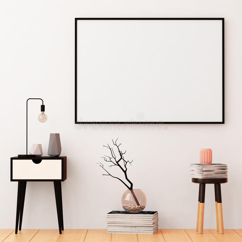 Mockup posters in the frame on a light background in the interior. 3d royalty free stock images