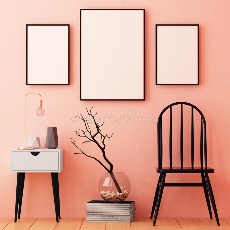 Mockup posters in the frame on a light background in the interior. 3d royalty free illustration