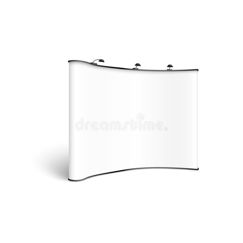Mockup pusty biały wklęsły wystawa stojak z światło reflektorów realistycznym stylem ilustracja wektor