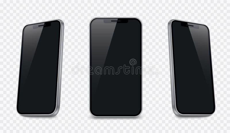 Mockup realista de smartphone Dispositivo móvel vetor 3D em branco - vetor estacionário ilustração royalty free