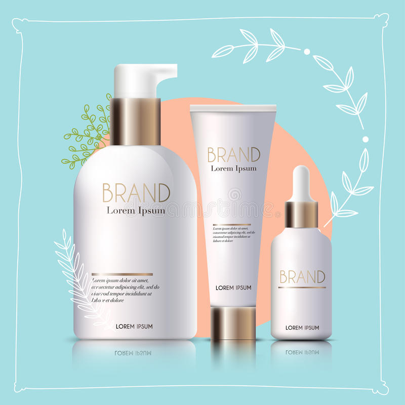 Mockup realistyczni 3d kosmetyków produkty dla twój projekta na a, ilustracji