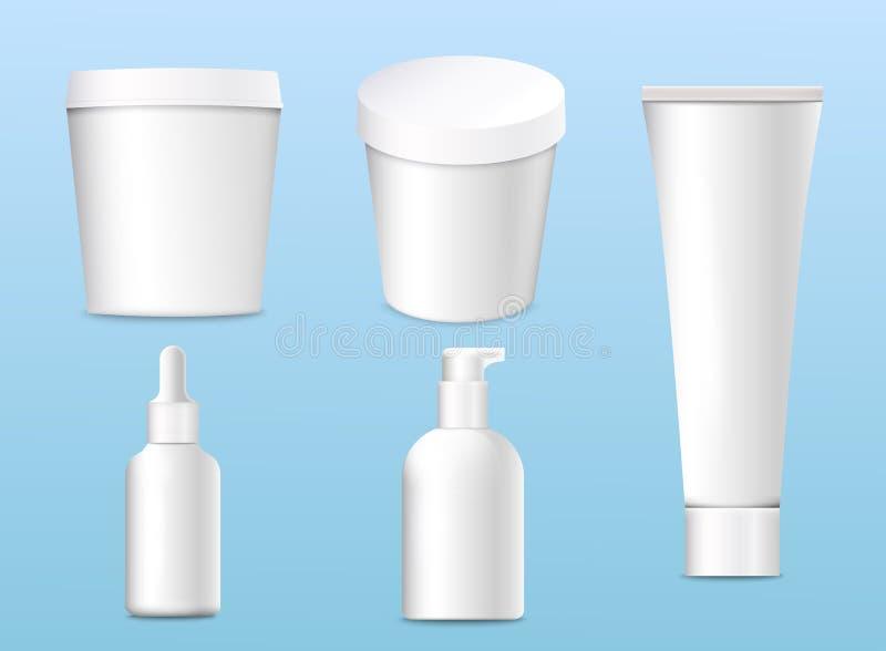 Mockup realistyczni 3d kosmetyków produkty dla twój projekta na a, ilustracja wektor