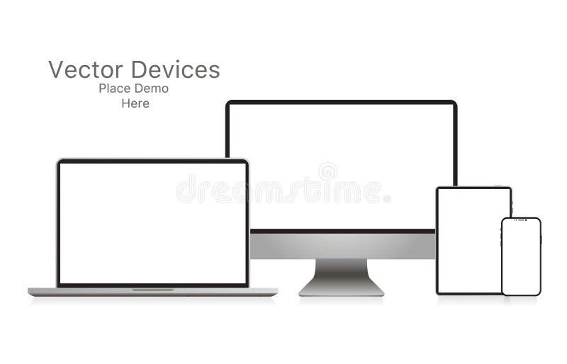 Mockup realistyczny przyrząd Set laptop, pastylka, komputer i telefon, wektor ilustracja wektor