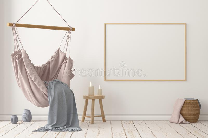 Mockup Scandinavian interior with a hanging chair. 3D rendering stock photo