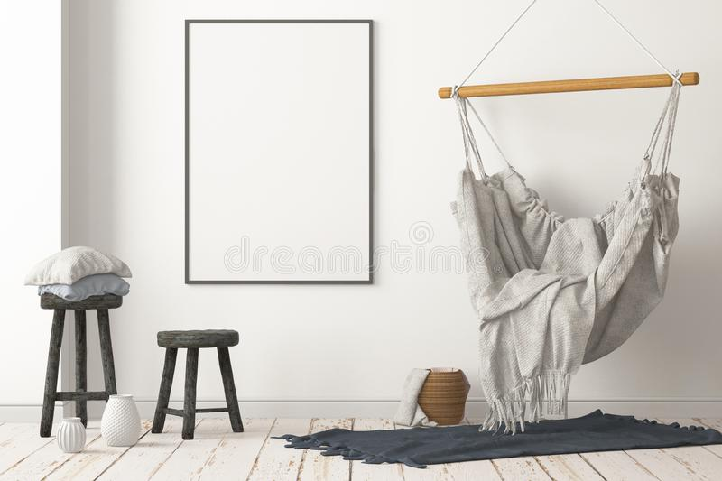 Mockup Scandinavian interior with a hanging chair. 3D rendering royalty free stock photography