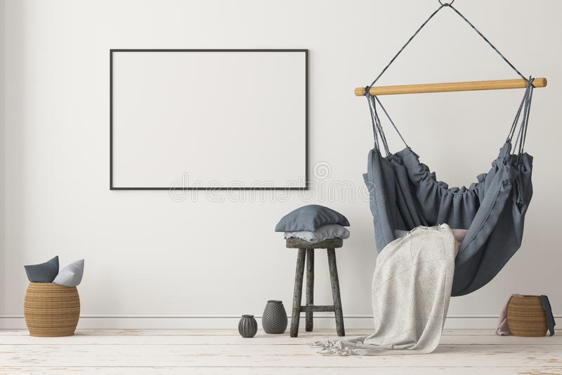 Mockup Scandinavian interior with a hanging chair. 3D rendering royalty free stock photos