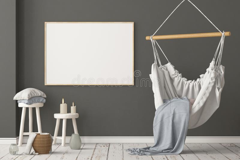 Mockup Scandinavian interior with a hanging chair. 3D rendering stock photography