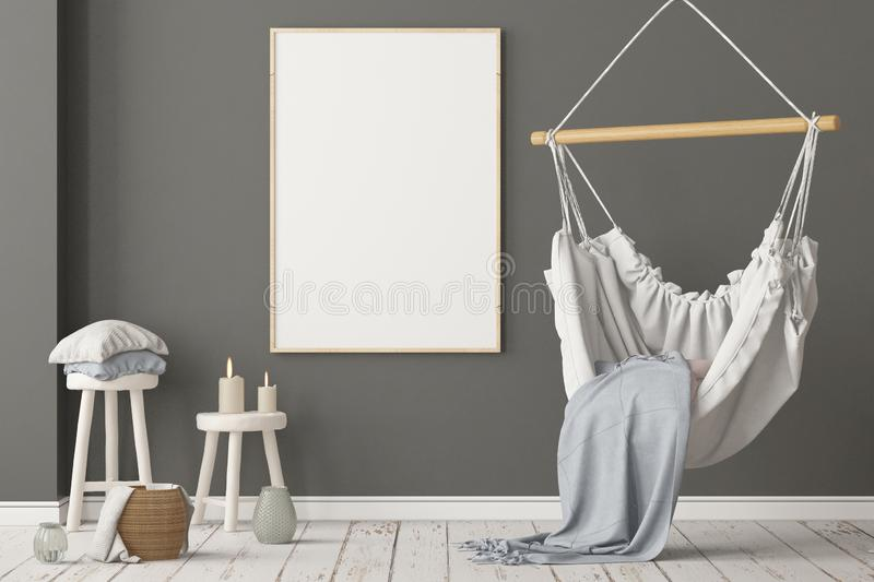 Mockup Scandinavian interior with a hanging chair. 3D rendering royalty free stock photo