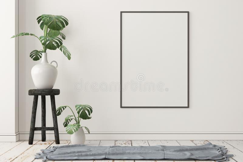 Mockup Scandinavian interior with a hanging chair. 3D rendering stock image