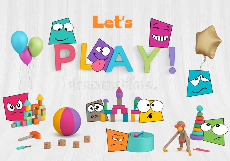 Mockup scene with toys and balloons and cartoon characters. Colorful mock-up scene creator with wood toys, letters, balloons and cartoon characters symbolizing royalty free illustration