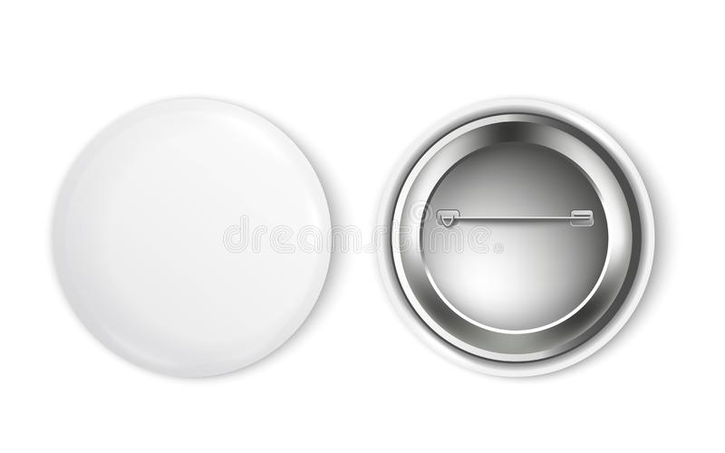 Mockup set of blank white round badge from front and back sides realistic style. Vector illustration isolated on white background. 3d template of clean empty vector illustration
