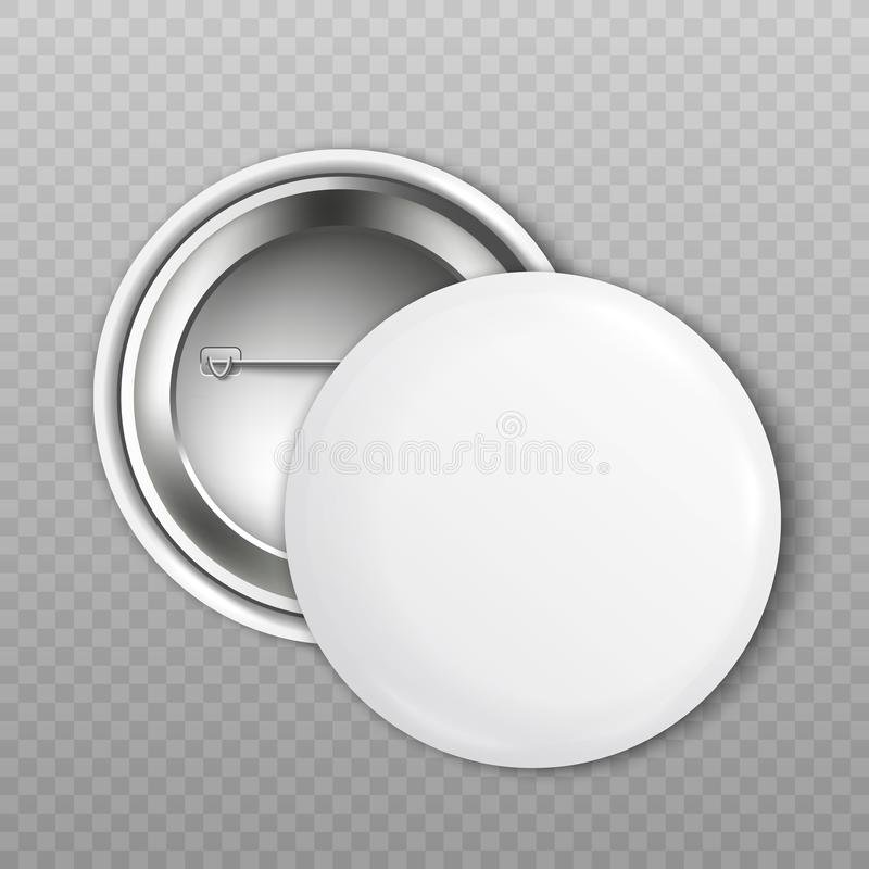 Mockup set of blank white round badge from front and back sides realistic style. Vector illustration isolated on transparent background. 3d template of clean vector illustration