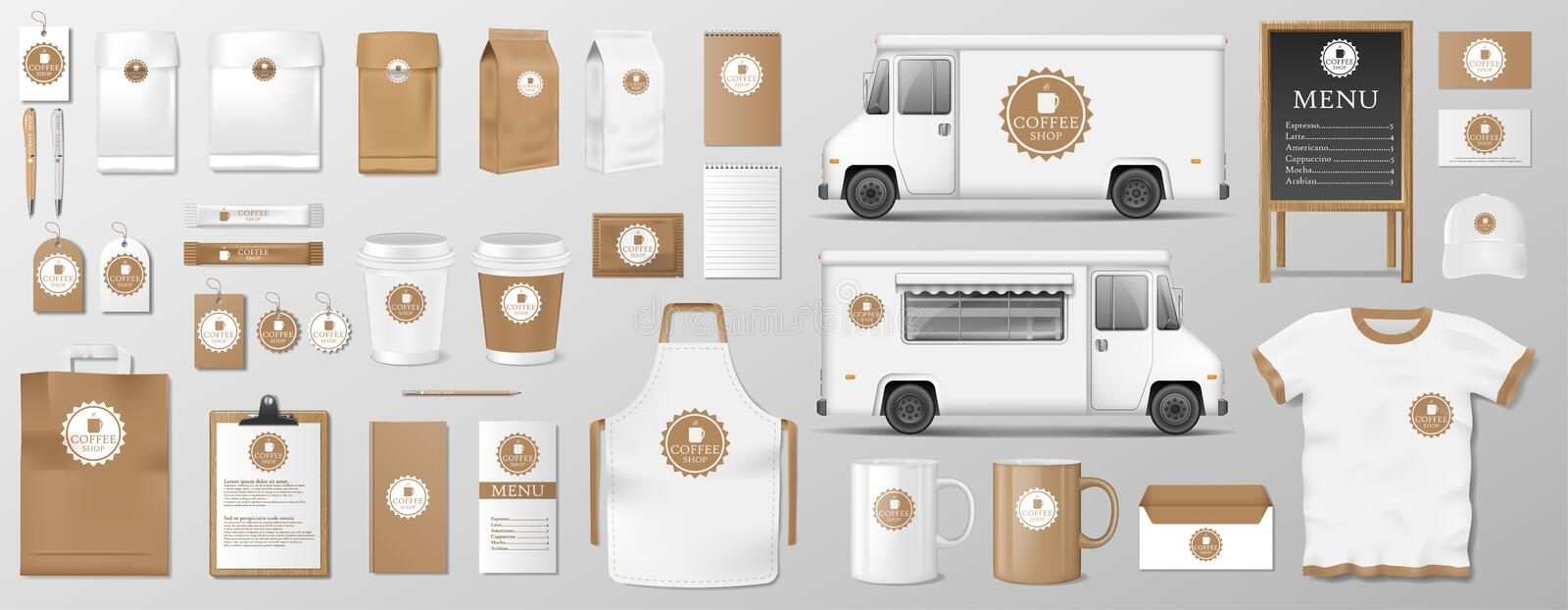 Mockup set for coffee shop, cafe or restaurant. Coffee food package for corporate identity design. Realistic set of. Mockup set for coffee shop, cafe or vector illustration