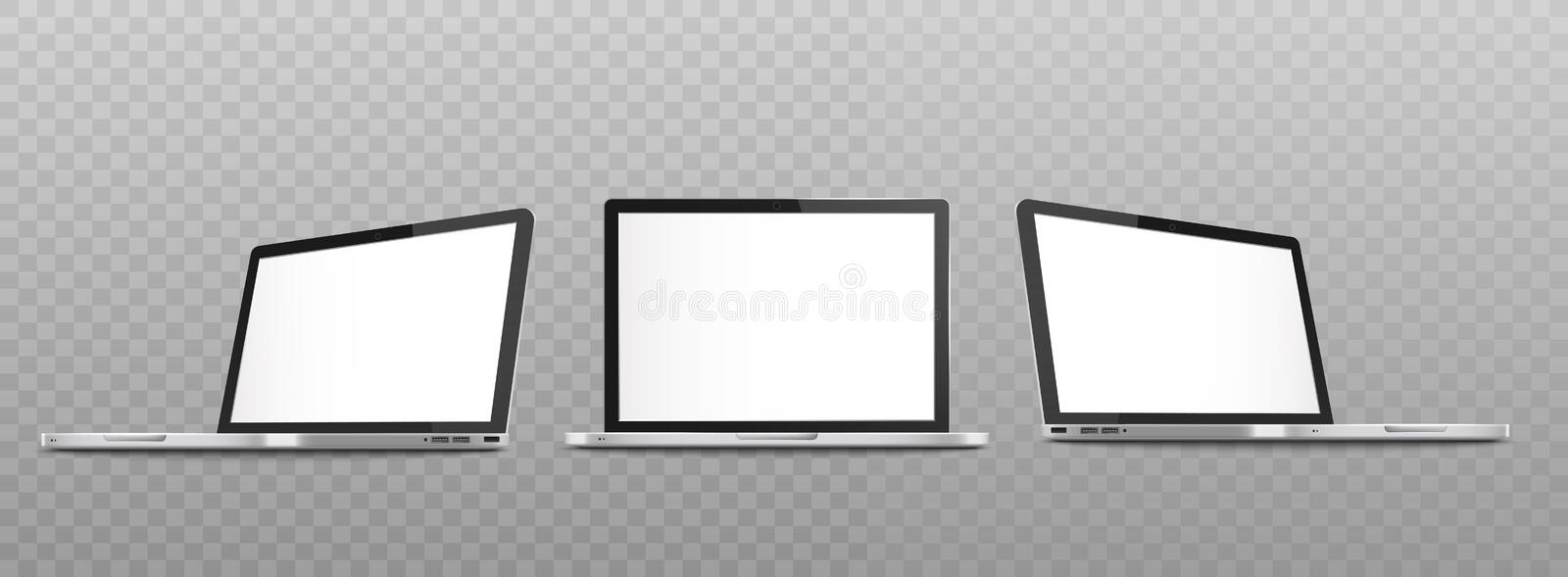 Mockup set of open laptop with blank screen in different views realistic style. Vector illustration isolated on transparent background. Templates of notebook stock illustration