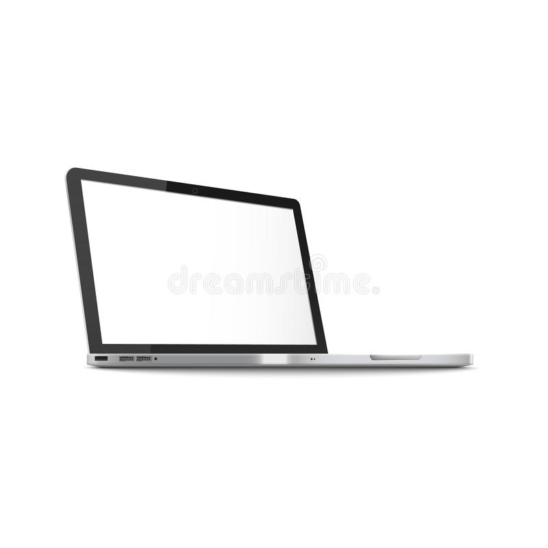 Mockup of side view open laptop with blank screen realistic style. Vector illustration isolated on white background. Template of notebook computer with clean royalty free illustration
