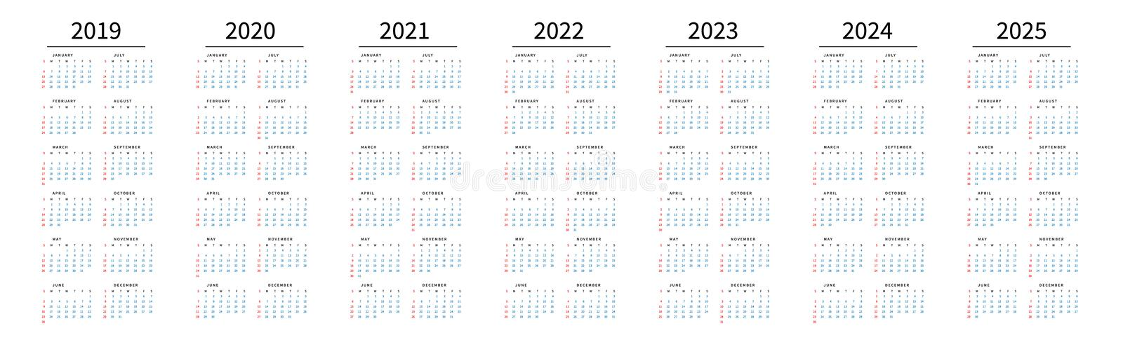 Mockup Simple calendar Layout for 2019 to 2025 years. Week starts from Sunday royalty free illustration