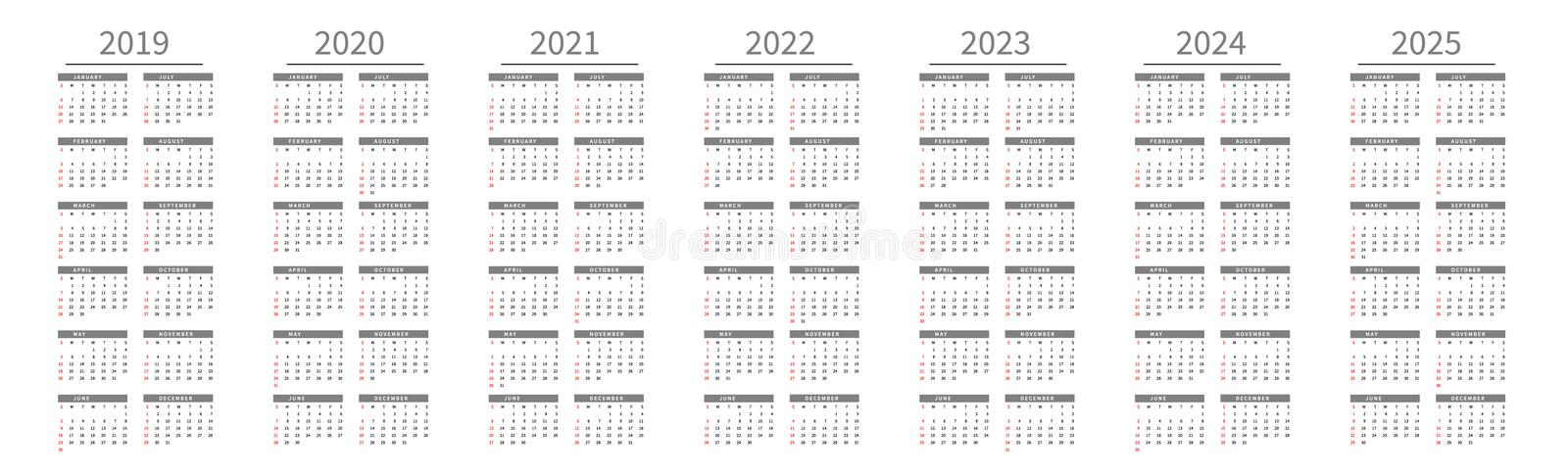Mockup Simple calendar Layout for 2019 to 2025 years. Week starts from Sunday stock illustration