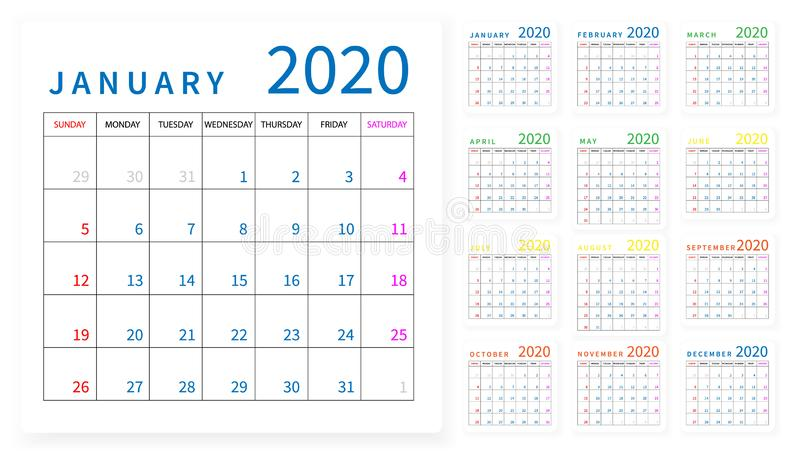 Mockup Simple calendar Layout for 2020 year. Week starts from Sunday royalty free illustration
