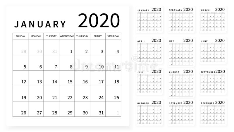 Mockup Simple Calendar Layout For 2020 Year  Week Starts From Sunday