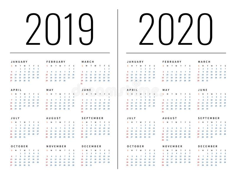 Mockup Simple calendar Layout for 2019 and 2020 years. Week starts from Monday royalty free illustration