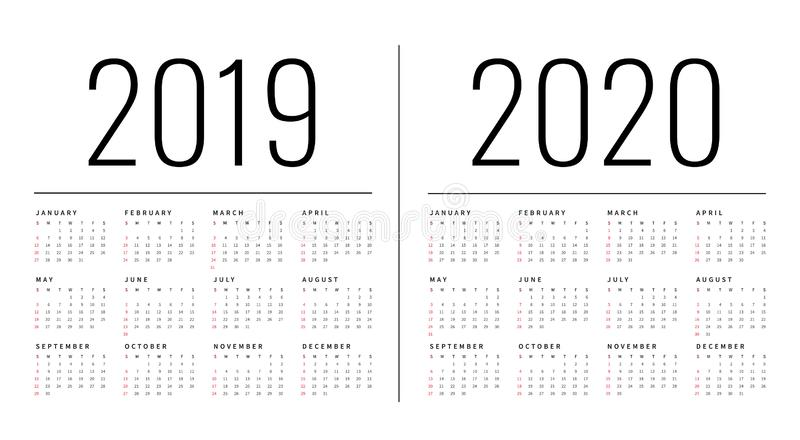 Mockup Simple calendar Layout for 2019 and 2020 years. Week starts from Monday stock image