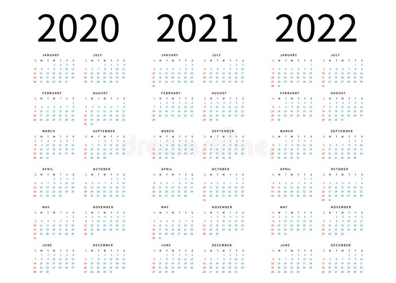 Mockup Simple calendar Layout for 2020, 2021 and 2022 years. Week starts from Sunday stock illustration