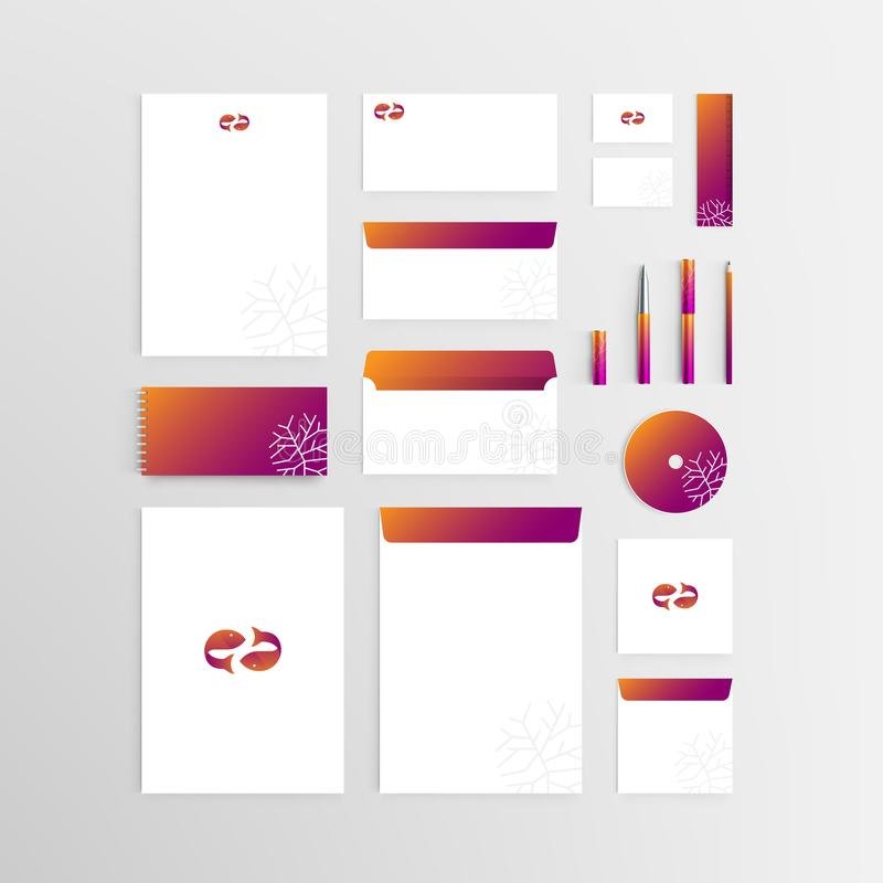 Mockup Stationery Brand Identity Corporate set template with Two. Fish or Pisces symbol icon illustration isolated on grey gradient background with copy space vector illustration