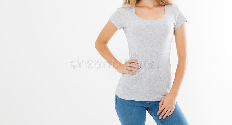 Mockup T shirt banner. Front blank template tshirt view. Woman girl in summer clothes with place for print and advertisement. Copy. Space. Cropped image royalty free stock photography