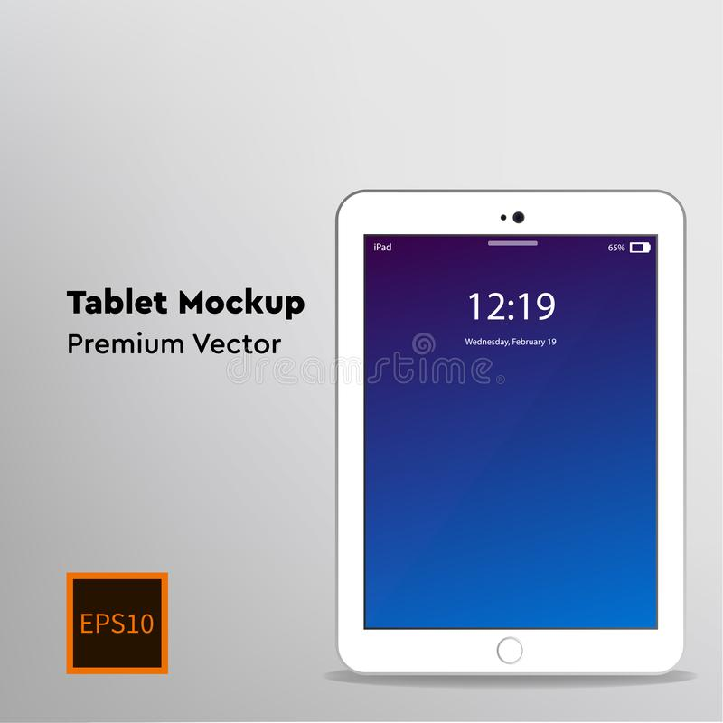 White tablet computer mockup, blue screen. White tablet computer mockup with original blue screen. Grey, silver background. Vector illustration - Vector EPS10 stock illustration