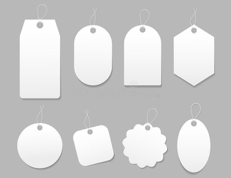Mockup-tagg, pappersetikett Blankett mall för prisshopping, häng försäljning, presentkort Bagagetagg med stav Vitpappersetiketter vektor illustrationer