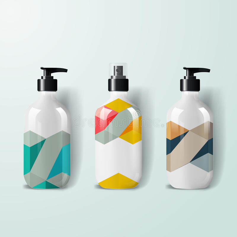 Mockup template for branding and product designs. Isolated realistic plastic bottles with dispenser spray and unique geometric des stock illustration