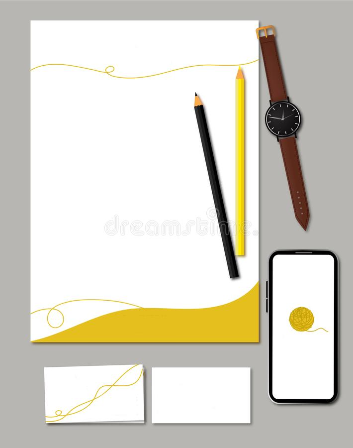 Mockup or template for social media pack Logo+Business card +Letterhead+App+clock+black pensil royalty free illustration
