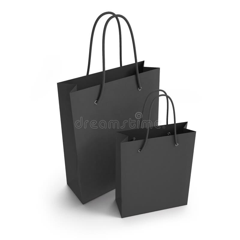 Mockup two black paper shopping bag. 3d. Mockup two black paper shopping bag royalty free illustration