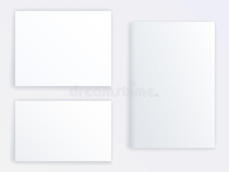 Mockup vector of three blank posters or brochures of different sizes. Realistic mock up. vector illustration