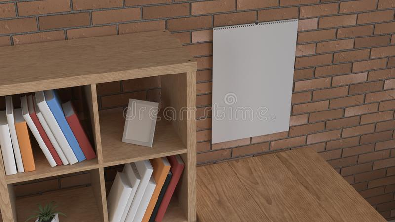 Mockup of wall calendar in the interior vector illustration