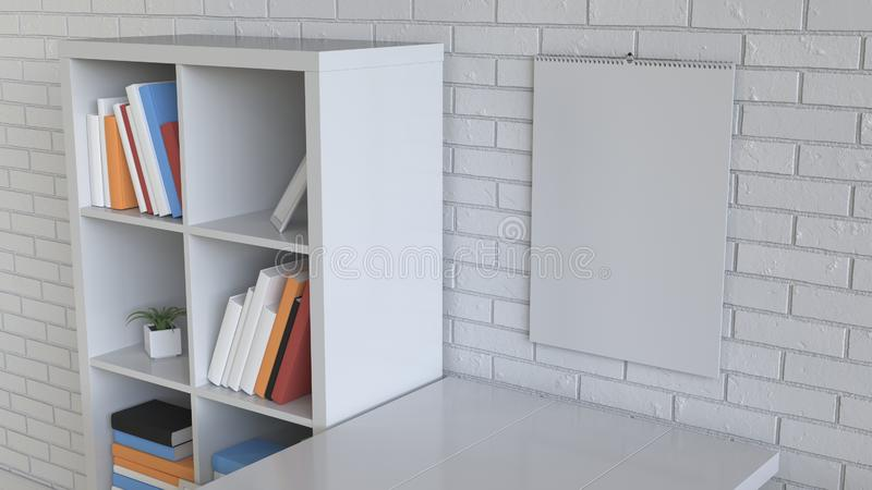 Mockup of wall calendar in the interior stock illustration