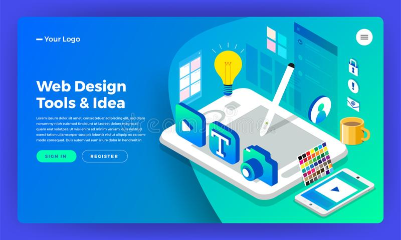 Mockup website landing page isometric flat design concept web de royalty free illustration