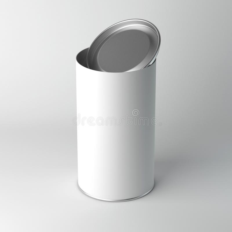 Mockup of white Blank Tin can packaging with open lid, cover. Tea, coffee, dry products, gift box. 3d rendering vector illustration